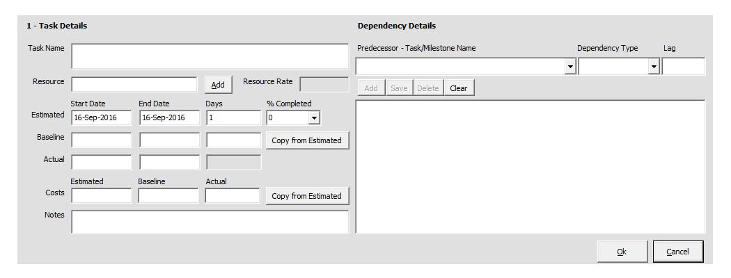 Gantt Chart Task Form