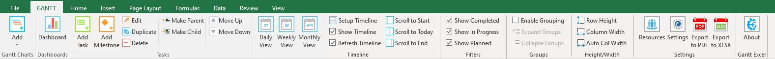 Gantt Excel Ribbon Menu