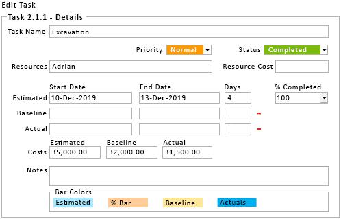Gantt Chart Excel Task Form